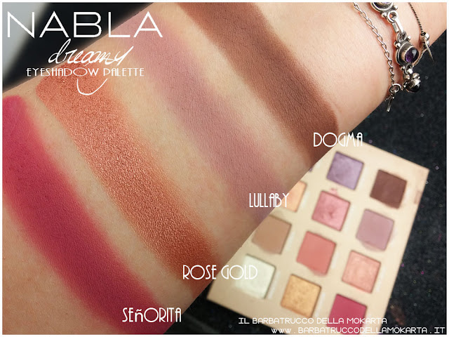 dreamy eyeshadow palette nabla cosmetics swatches ombretti