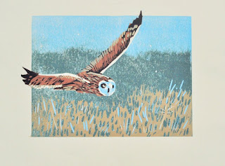 Short-eared owl reduction linocut