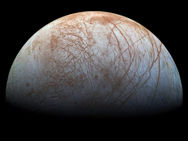 The ocean on Jupiter's Moon Europa.
