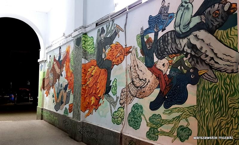 Warszawa Warsaw Igor Rudziński Niebieski Robi Kreski Alek Morawski Lis Kula Jana Pawła II 44 streetart mural warszawskie murale graffiti street art
