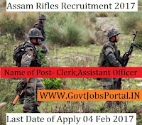 Assam Rifles Recruitment 2017 – 91 General Duty, Clerk, Personal Assistant