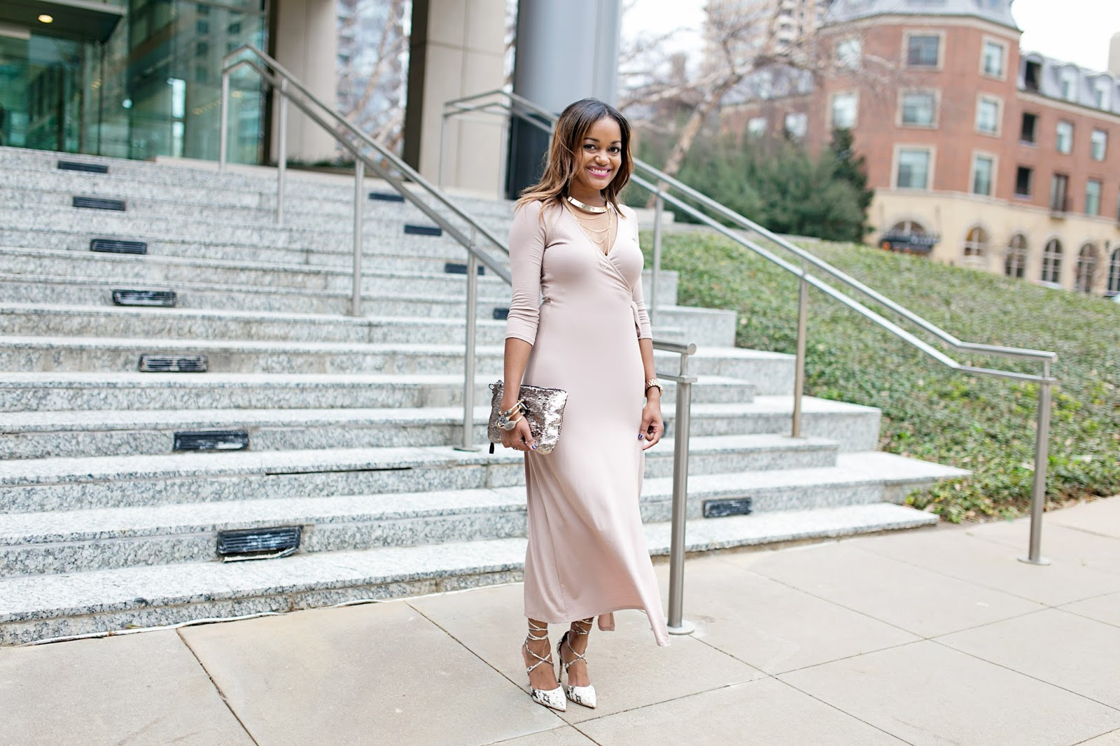 wrap dress, maxi dress, winter maxi dress, nude dress, blush pink dress, forever 21, sequin clutch, target handbag, steve madden raela, druzy bracelets, statement necklace, H&M, dallas blogger, fashion blogger, black girl blogger, detroit blogger
