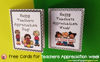 Free Teachers Appreciation Week cards