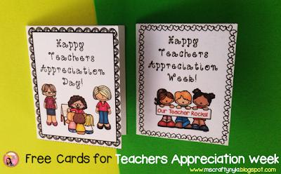 Free Teachers Appreciation Week cards