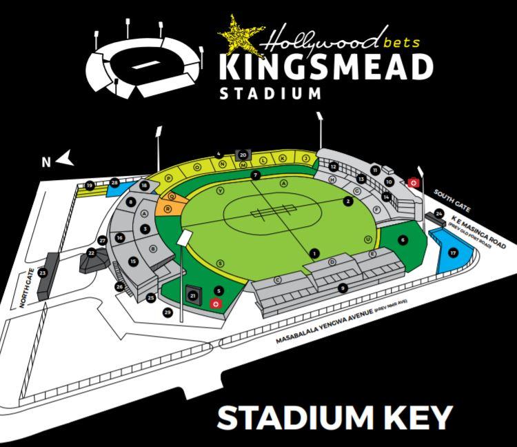 Hollywoodbets Kingsmead Stadium Map Key