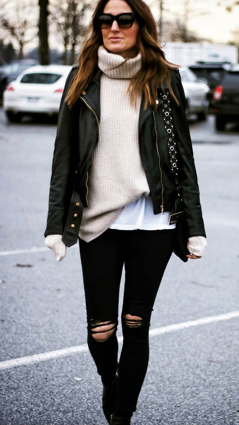 street style obsession : moto jacket + white knit sweater + bag + boots + black rips