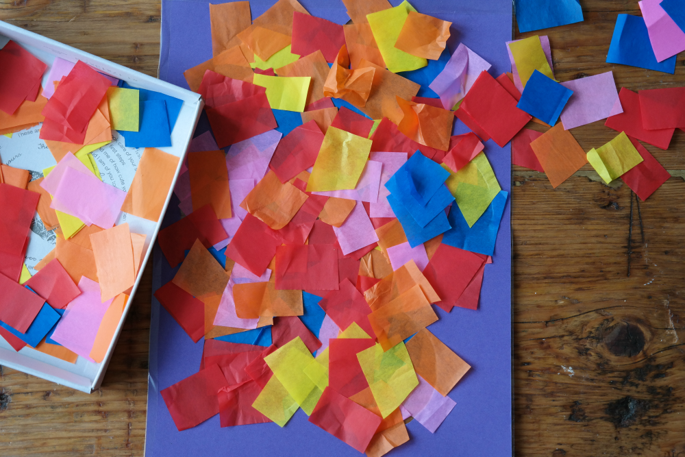 Tissue paper suncatcher DIY for toddlers