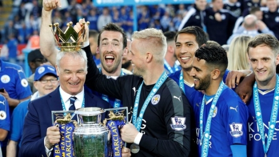 Claudio Ranieri celebrates the English Premier League title with his Leicester City team