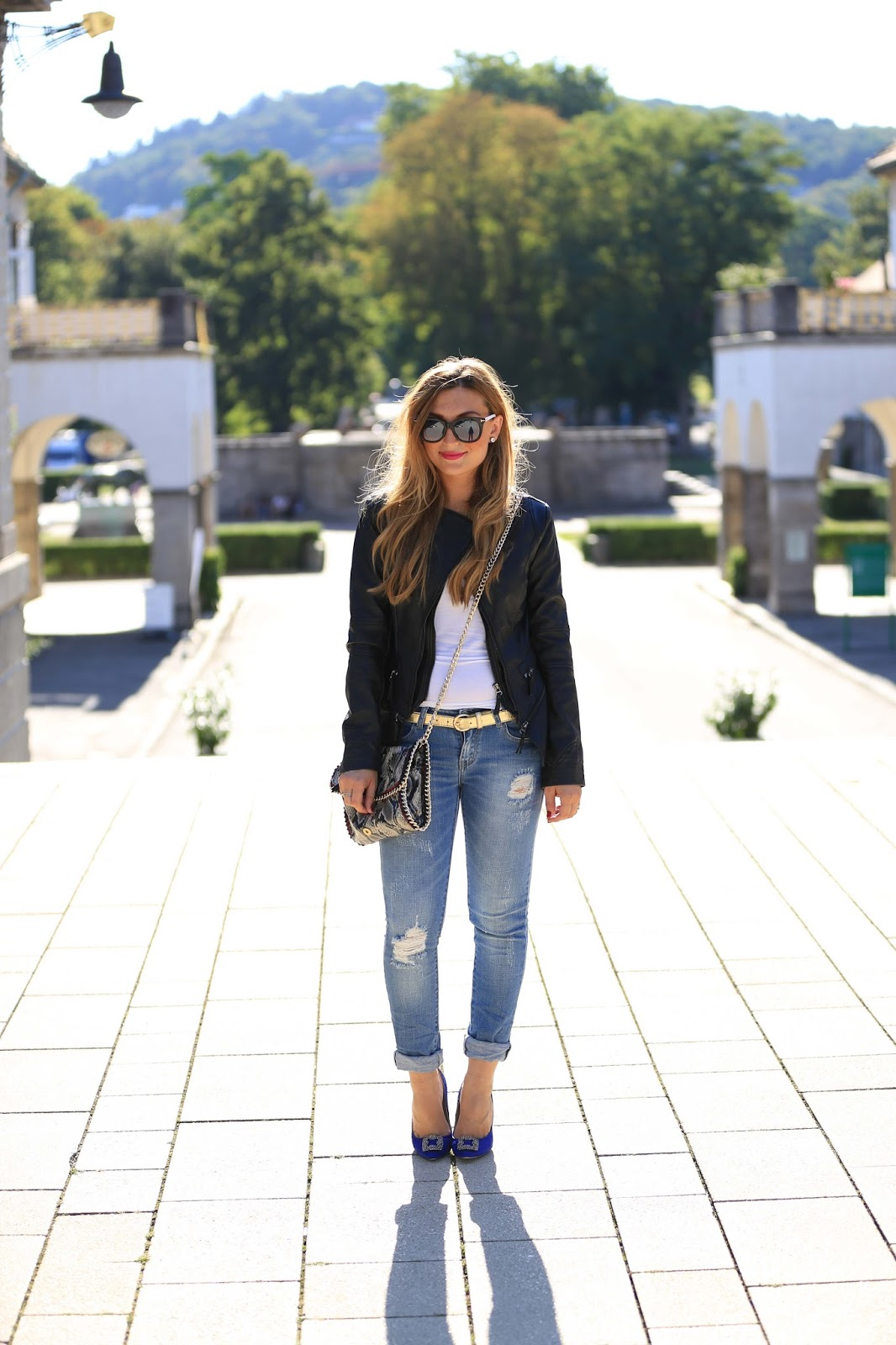 Manolo blanik - blaue Manolo Blanik- Zara-red heelsWolford-Dior-so-real-Fashionblogger-München-Deutschland-Lederjacke