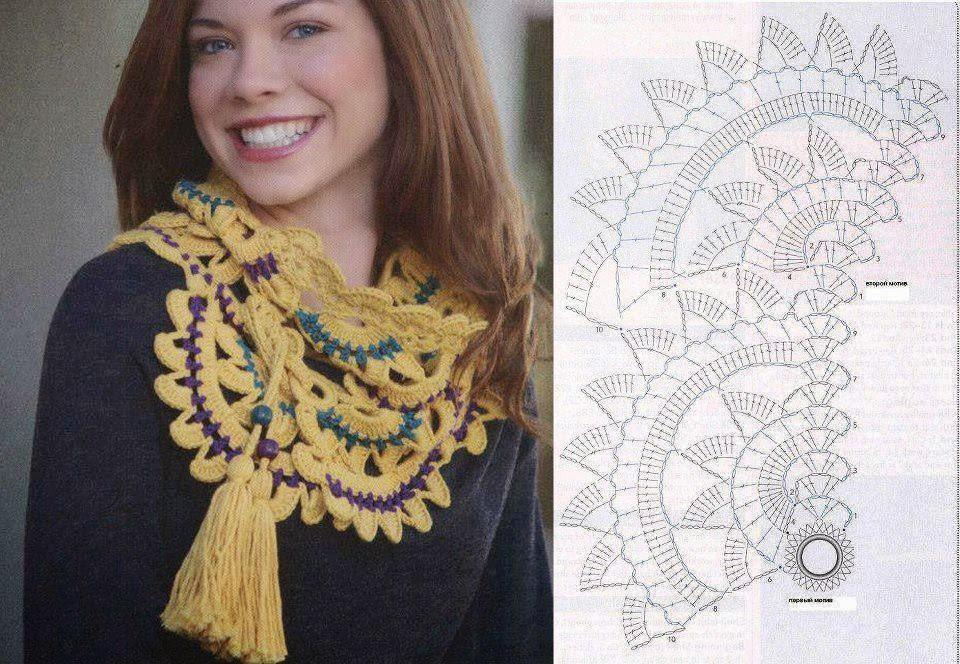 Cuello Bufanda Flor de Crochet