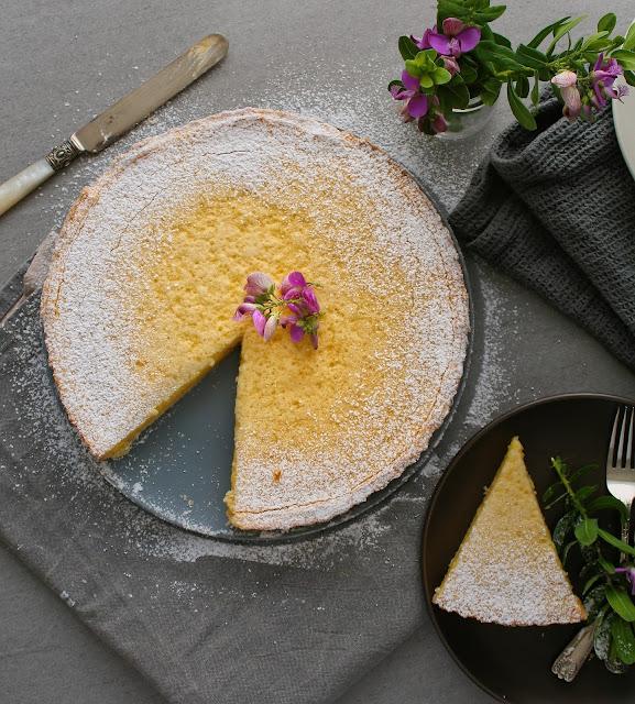 Aerial shot of lemon tart
