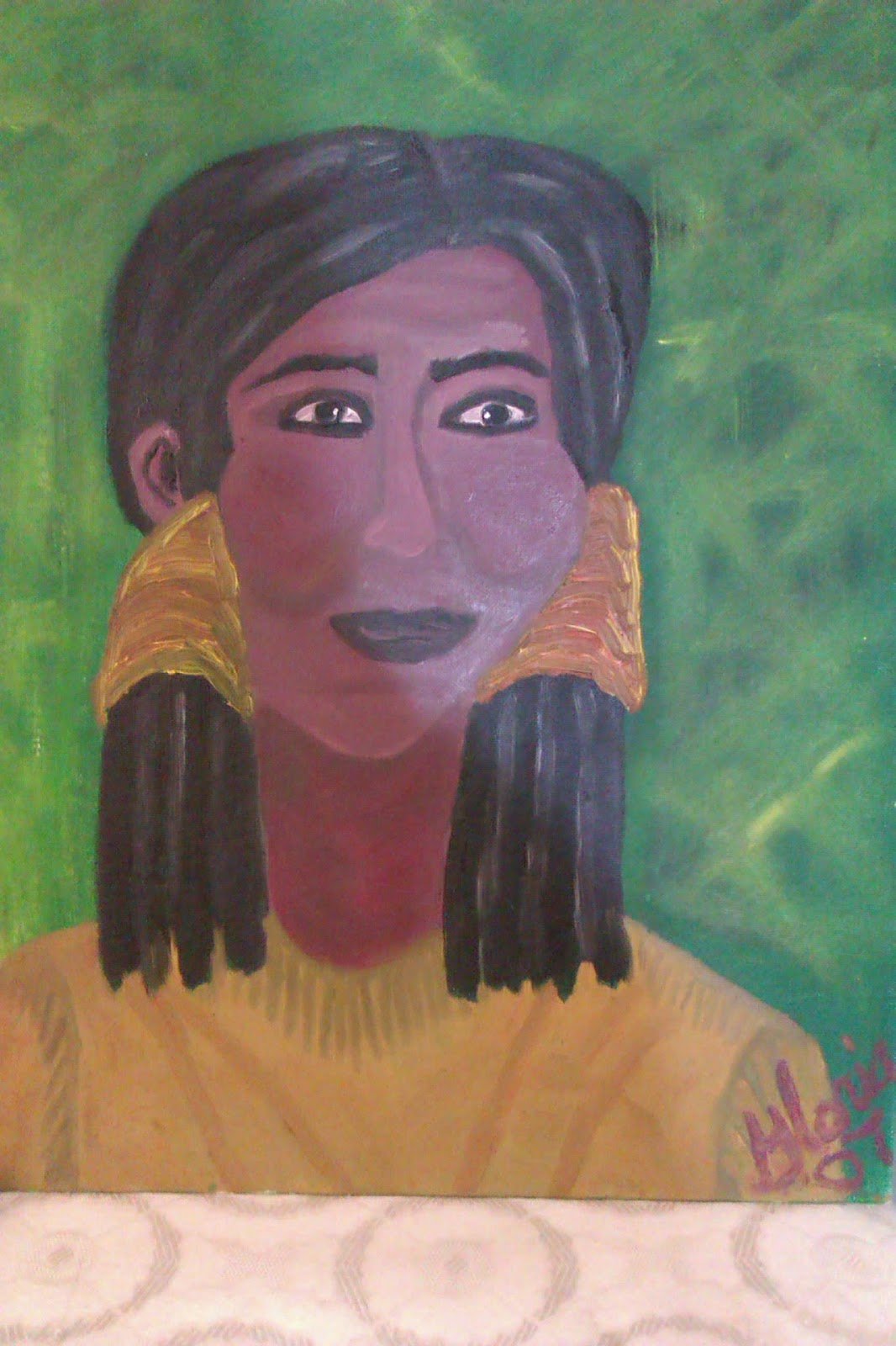 """indian woman"" oil painting by Gloria Poole; yr 2007"