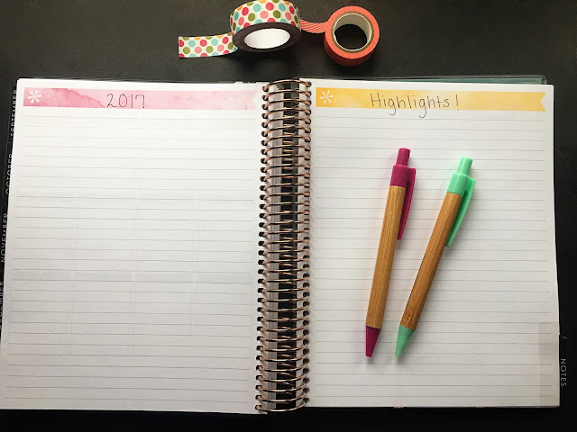 My Erin Condren planner paid open to the notebook pages in the back.