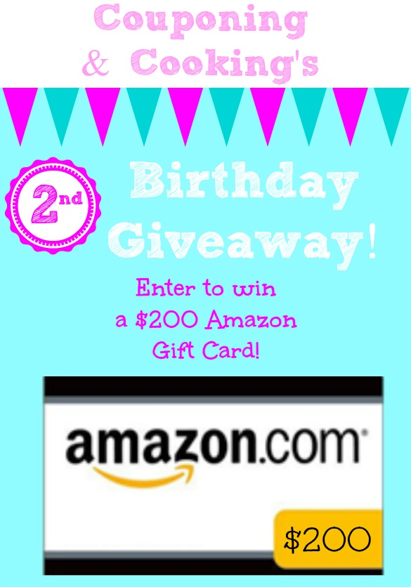 Happy Birthday Couponing Cooking 200 Amazon Gift Card Giveaway