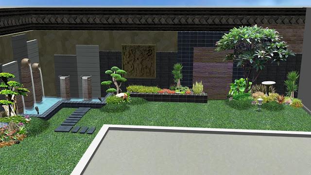 Desain Water wall dan kolam koi ala Tukang Taman Surabaya