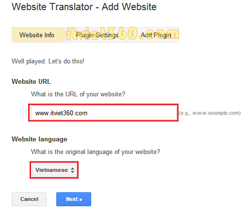 Website translator Add Website, google dich