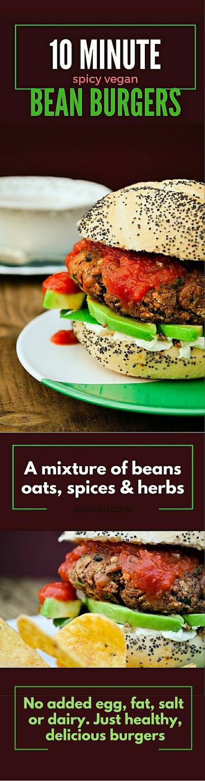 10 Minute Spicy Vegan Bean Burgers