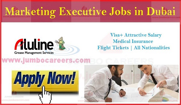 Current Dubai jobs with benefits, Show the details of marketing executive jobs in Dubai,