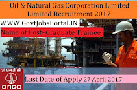 Oil and Natural Gas Corporation Limited Recruitment 2017– 721 Graduate Trainee