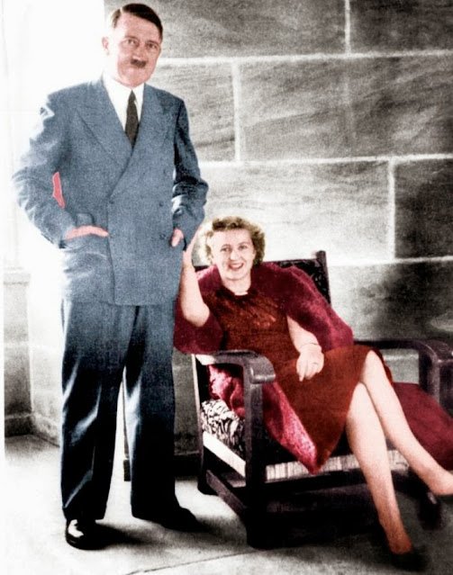 Hitler and Eva Braun in June 1944,Women color photos worldwartwo.filminspector.com