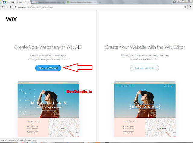 Choose the editor you need to use in wix