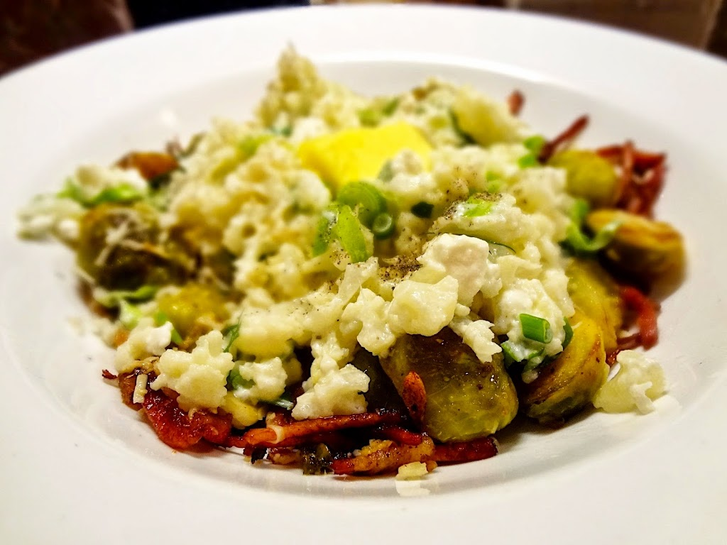 Roasted Sprouts & Bacon with Mashed Cauliflower, Feta & Soured Cream