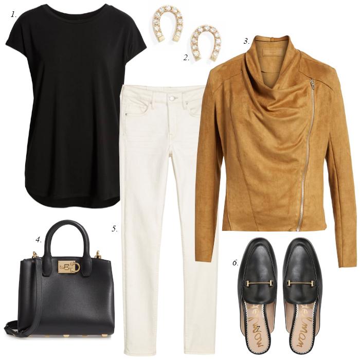 white skinny jeans, suede jacket, black mules, sam edelman mules, black tee