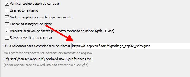 IDE Arduino - Preferências