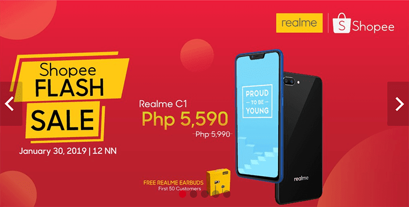 Realme at Shopee Mall is now official, announces flash sale on January 30!