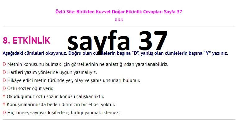 3. Sınıf Türkçe Çalışma Kitabı Cevapları Dikey Yayınları Sayfa 37