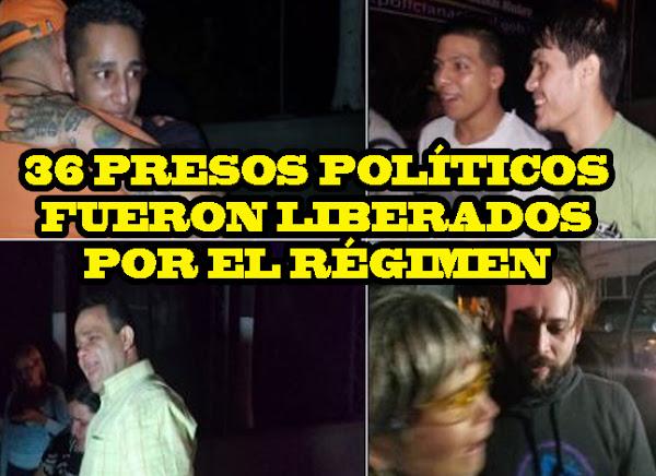 Régimen libera a 36 de los presos políticos