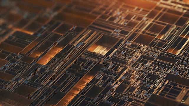 アルゴリズムによってつくられた長方形。未来の都市?電子基板?【a】