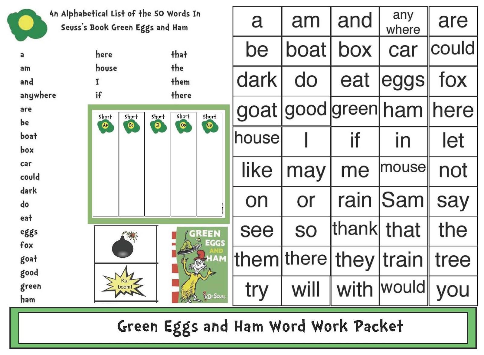 Seuss Inspired Green Eggs Amp Ham Word Work Activities