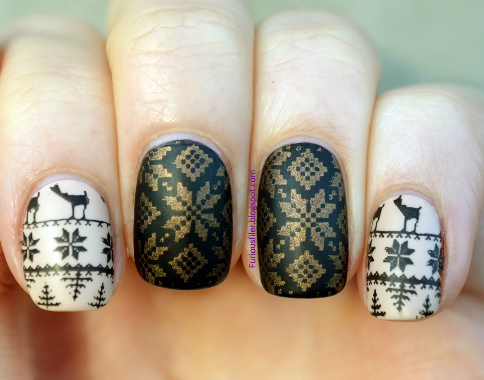 cream gold black Christmas nail art
