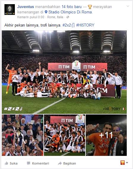 Screenshot Status Facebook Juventus Merayakan Juara Coppa Italia 2016 - Dipopedia