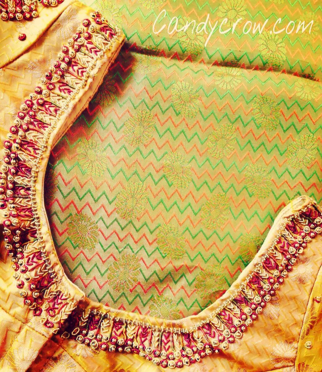 Gold silk saree blouse design