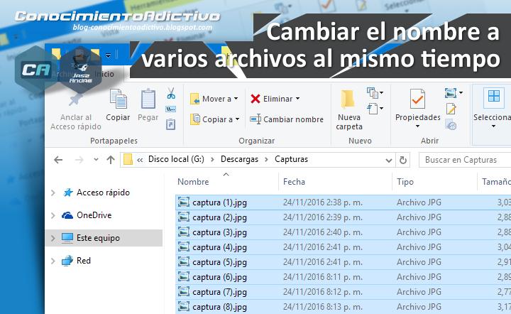 Cambiar el nombre a varios archivos al mismo tiempo con el Explorador de Archivos de Windows