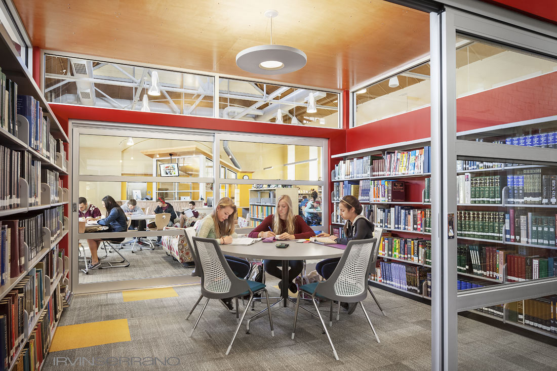 Students study in newly renovated library at Thorton Academy.