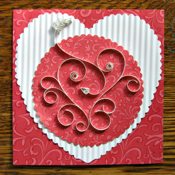 quilled heart on Valentine card
