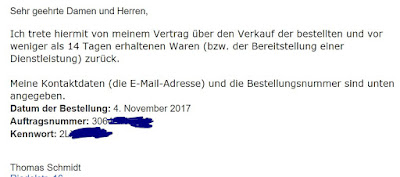 E-Mail-Screenshot - Widerruf an HTC