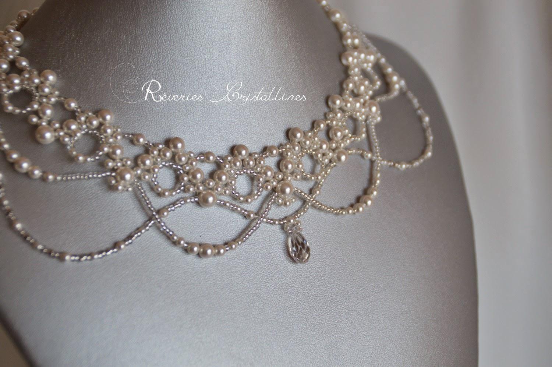 collier tissage de perles nacrées Preciosa