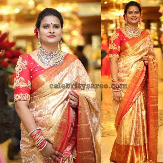 Gold and Red Bridal Saree