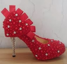 beautiful red pearl sequins bridal footwear