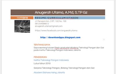 Download Contoh Resume Curriculum Vitae Terbaru Doc
