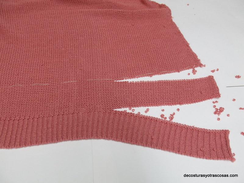 como acortar el largo de un jersey