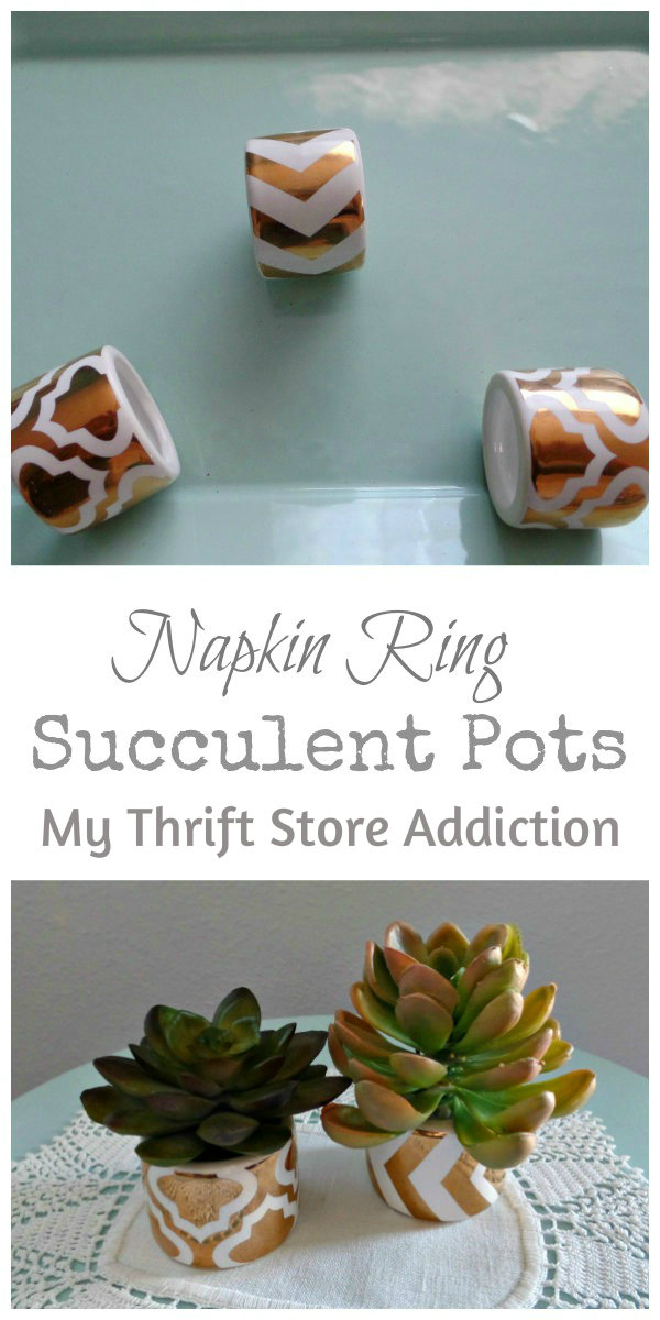 Napkin Ring Mini Succulent Pots  mythriftstoreaddiction.blogspot.com  Repurpose clearance napkin rings as mini succulent pots!