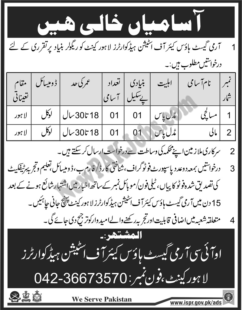 Civilian Jobs in Army Guest House Care of Station Lahore Cantt 2018