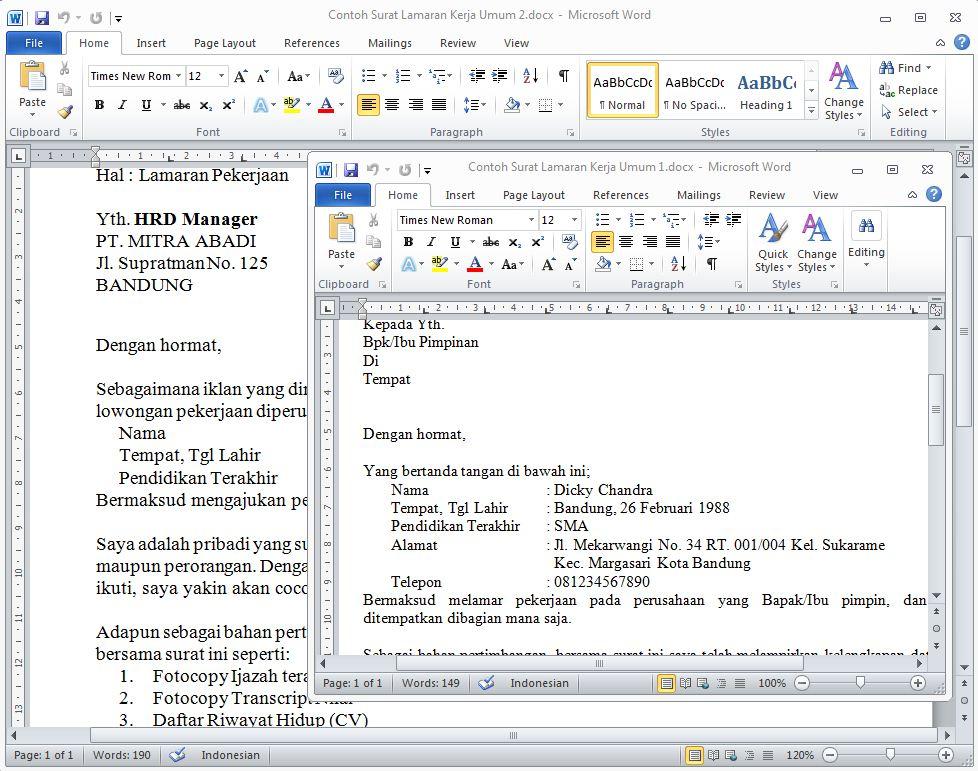 Contoh Surat Lamaran Kerja Online Word Download Contoh Lengkap Gratis