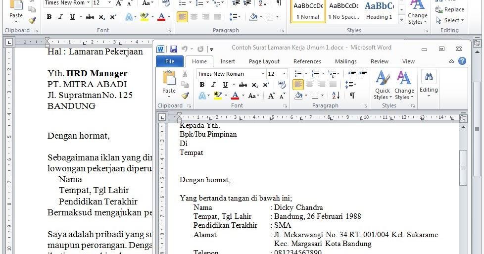 Contoh Surat Lamaran Kerja Umum Format Doc Word