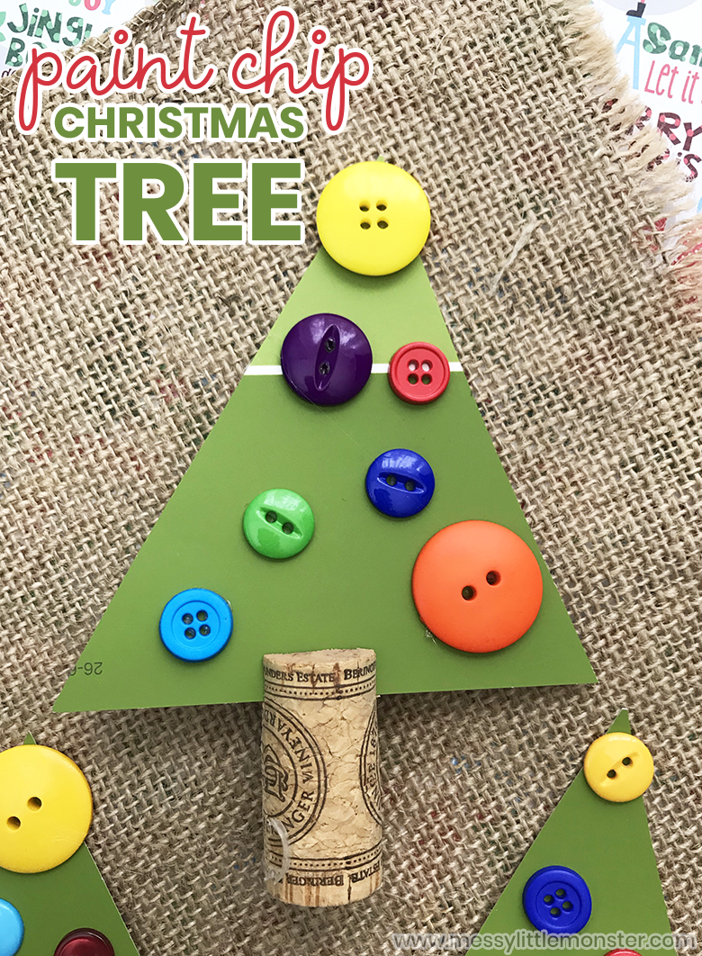 Easy Christmas tree craft for kids. This paint chip Christmas tree craft for toddlers and preschoolers is both fun and easy!